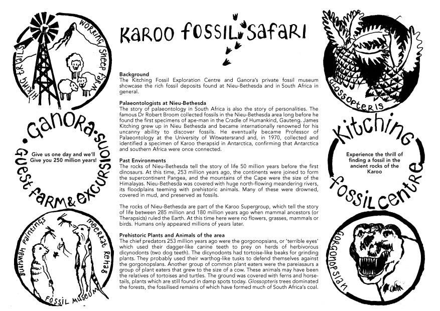 Fossil Safari Pamflet, Ganora Guestfarm, Nieu Bethesda